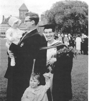 Olga Mracek Mitchell and her family on the day her Ph. D. zoas granted (1962)