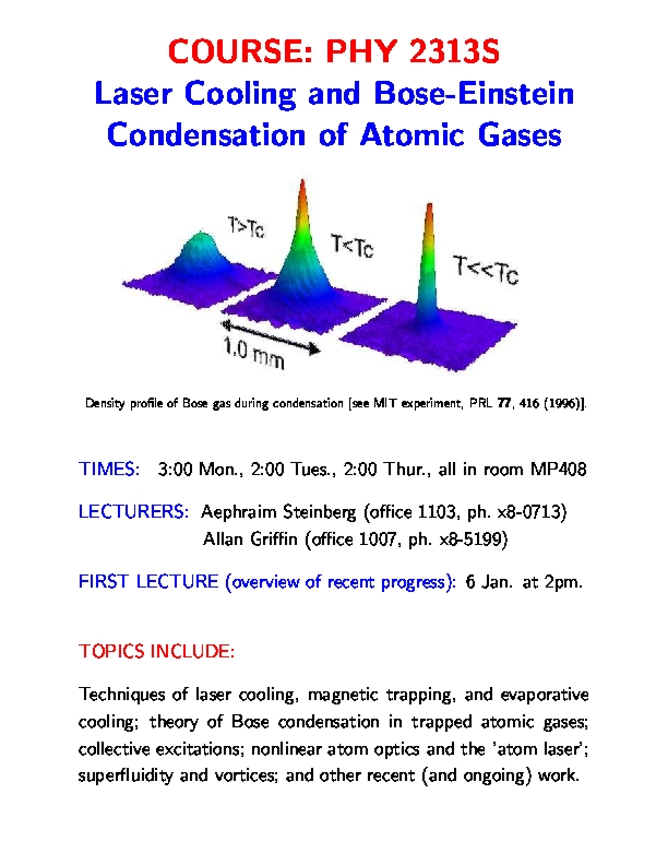 Physics (1)2313S, Laser Cooling and Bose-Einstein Condensation